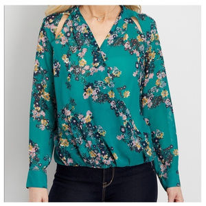 Green floral print wrap cut outs long sleeve top S
